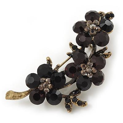 Swarovski Crystal Floral Brooch (Antique Gold & Black) - 5.5cm Length - main view