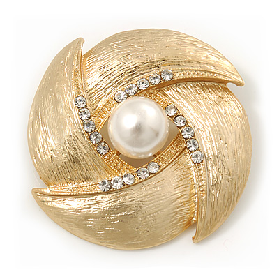 Vintage Textured Diamante, Pearl Corsage Brooch In Gold Plating - 4.5cm Diameter