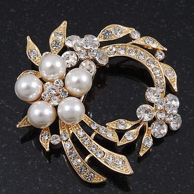 White Glass Pearl/ Clear Crystal Wreath Brooch In Gold Plating - 5cm Diameter