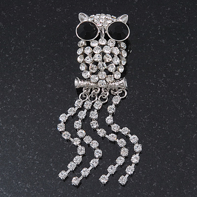 Clear Crystal 'Owl' With Dangling Tail Brooch In Rhodium Plating - 8.5cm Length - main view