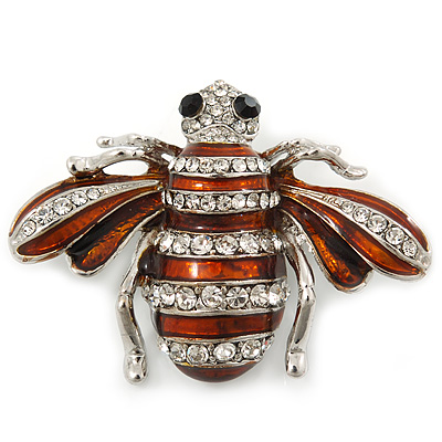 Cute Clear Crystal Brown Enamel 'Bee' Brooch In Rhodium Plating - 5cm Width