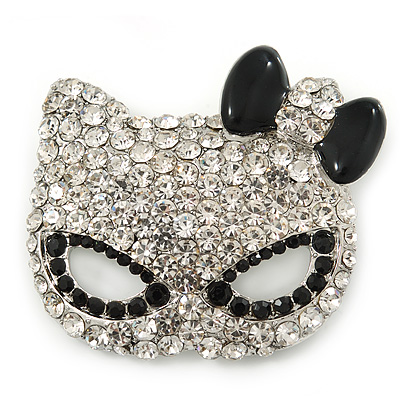 Pave Set Swarovski Crystal Cat Mask Brooch In Rhodium Plating - 5cm Width - main view