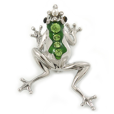 Queen Frog Green Enamel Crystal Brooch In Rhodium Plating - 5cm Length