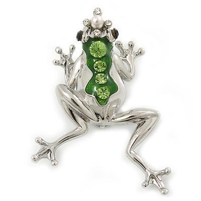 Queen Frog Green Enamel Crystal Brooch In Rhodium Plating - 5cm Length