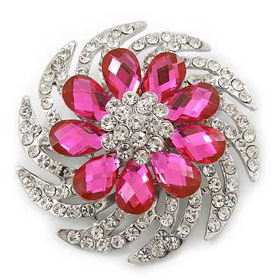 Dimensional Clear/Fuchsia Crystal Corsage Brooch In Rhodium Plating - 5cm Diameter