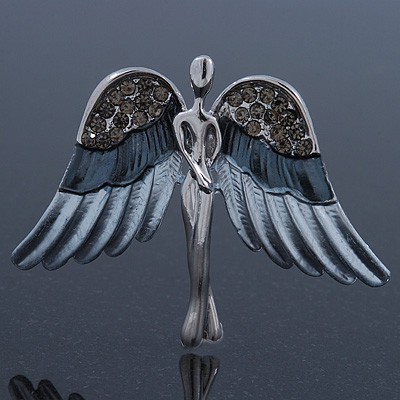 Flying Angel Grey Diamante Brooch In Rhodium Plating - 50mm Width