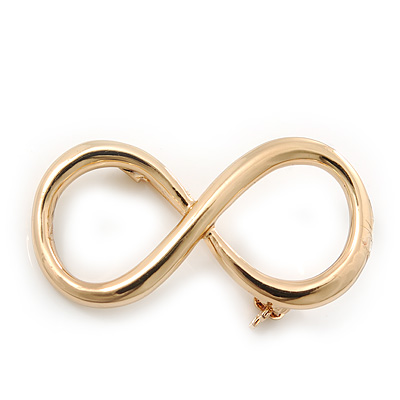 Gold Plated 'Infinity' Brooch - 40mm Width