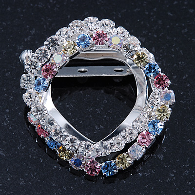 Double Square Multicoloured Crystal Scarf Pin In Silver Plating - 35mm Width