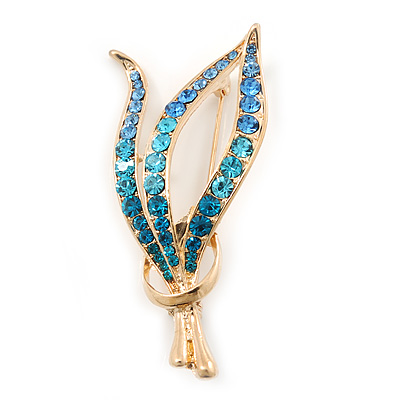 Gold Plated Diamante Fancy Brooch (Blue, Azure, Teal) - 55mm Length