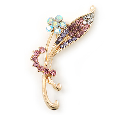 Classic AB/ Pink/ Purple Daisy Flower Brooch In Gold Plating - 65mm Length