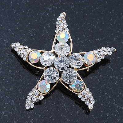 Clear Crystal 'Starfish' Brooch In Gold Plating - 48mm Width