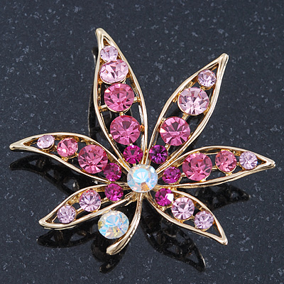 Fuchsia/Pink/ Clear 'Leaf' Brooch In Gold Plating - 52mm Length