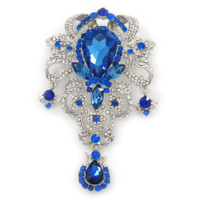 Statement Sapphire Blue/ Clear CZ Crystal Charm Brooch In Rhodium Plating - 11cm Length