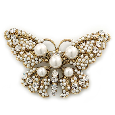 Vintage Pearl, Swarovski Crystal 'Butterfly' Brooch In Antique Gold Metal - 65mm Width