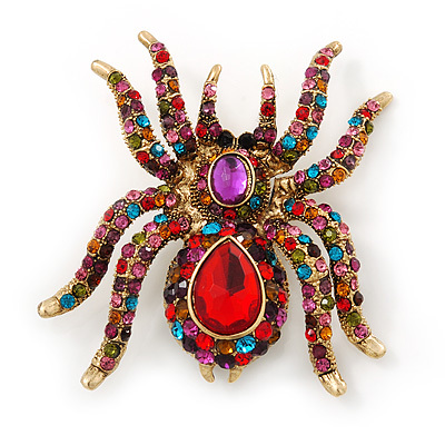 Large Multicoloured Swarovski Crystal Spider Brooch In Gold Plating - 55mm Length