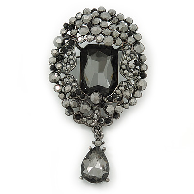Victorian Style Hematite Crystal Charm Brooch In Gun Metal - 85mm Length - main view