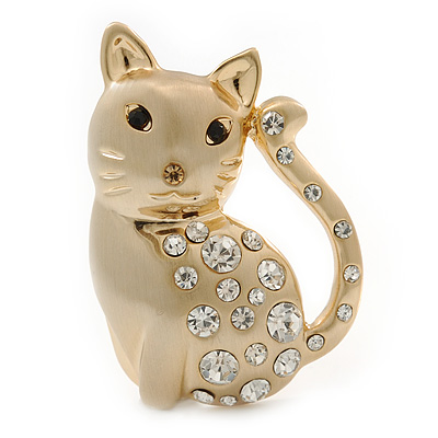 Clear Swarovski Crystal 'Cat' Brooch In Brushed Gold Finish - 45mm Length