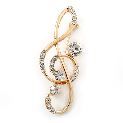 Gold Plated Diamante &#039;Treble Clef&#039; Brooch - 55mm Length