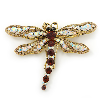 Large AB/ Smoked Topaz Swarovski Crystal 'Dragonfly' Brooch/ Pendant In Antique Gold Metal - 80mm Width