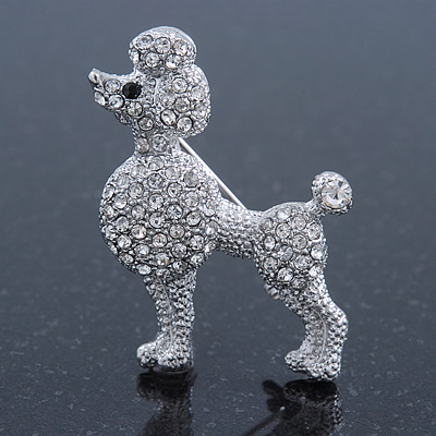 Small Rhodium Plated Pave Set Clear Crystal 'Poodle' Brooch - 37mm Across