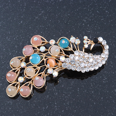 Gold Plated Multicoloured Diamante &#039;Peacock&#039; Brooch - 70mm Across