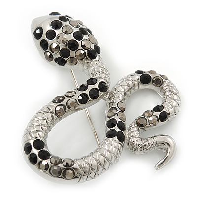 Sleek Black/ Hematite Crystal 'Snake' Brooch In Rhodium Plating - 55mm Width