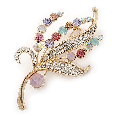 Multicoloured Swarovski Crystal 'Floral' Brooch In Polished Gold Plating - 68mm Length - main view