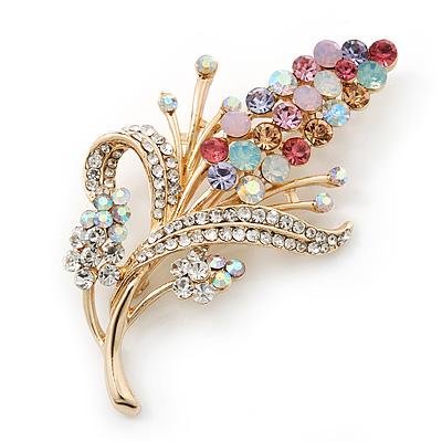 Multicoloured Swarovski Crystal Floral Brooch In Polished Gold Plating - 68mm Length
