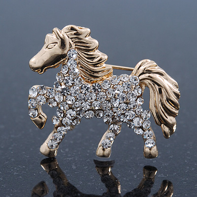 Avalaya Clear/AB Pave Set Austrian Crystal 'Horse' Brooch - 65mm Across