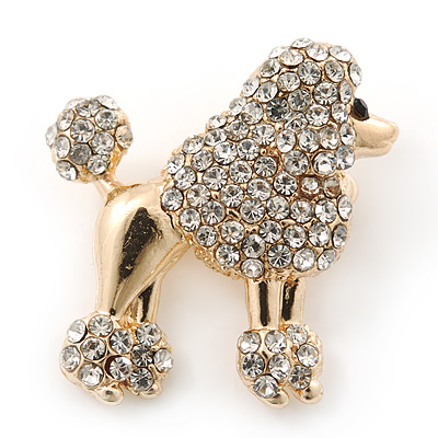 Small Gold Plated Crystal 'Poodle' Brooch - 25mm Length