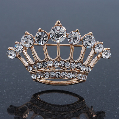 Gold Plated Diamante 'Crown' Brooch - 40mm Width