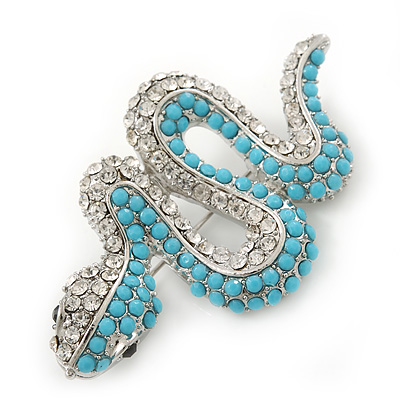 Avalaya Clear Austrian Crystal 'Snake' Brooch In Gold Plating - 65mm Length JbEW2In