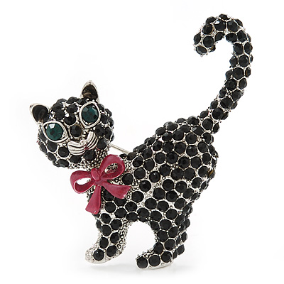 Jet Black Swarovski Crystal 'Cat With Pink Bow' Brooch In Rhodium Plating - 45mm Width - main view