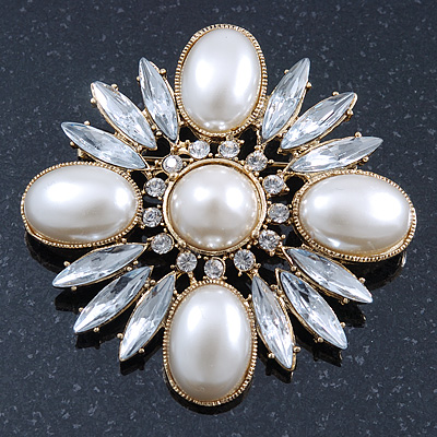 Bridal Vintage Inspired Clear Crystal, White Glass Pearl Square Brooch In Gold Plating - 60mm Across