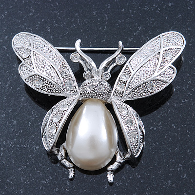 Vintage Inspired Crystal, Simulated Pearl 'Bumble Bee' Brooch In Silver Plating - 60mm Across