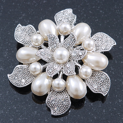 Vintage Inspired Swarovski Crystal White Simulated Pearl 'Flower' Brooch In Rhodium Plating - 55mm Diameter