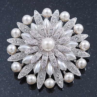 Bridal Vintage Inspired White Simulated Pearl, Swarovski Crystal Layered Floral Brooch In Rhoduim Plating - 50mm Diameter