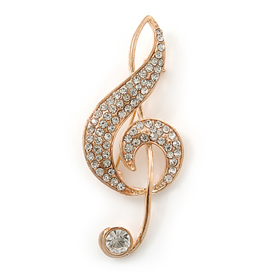 Gold Plated Diamante 'Treble Clef' Brooch - 57mm Length
