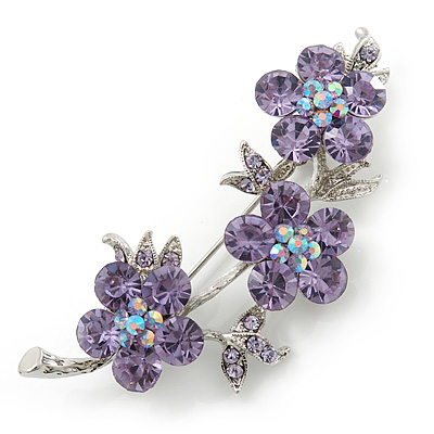 Light Purple Swarovski Crystal Floral Brooch In Rhodium Plating - 55mm Length - main view
