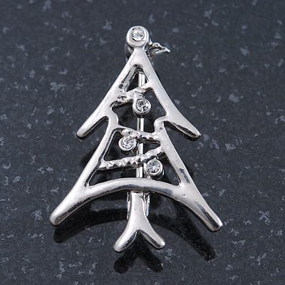Small Contemporary Holly Jolly Christmas Tree Brooch In Rhodum Plating - 30mm Length