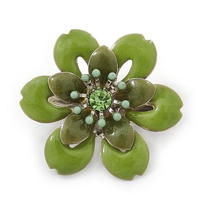 Small Grass Green 'Flower' Brooch In Silver Tone - 30mm Diameter