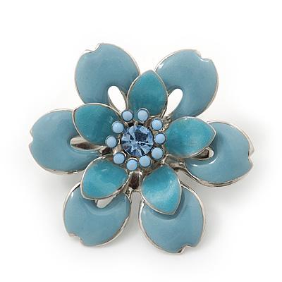 Small Light Blue 'Flower' Brooch In Silver Tone - 30mm Diameter