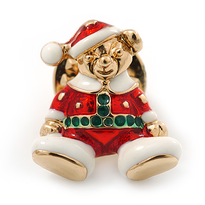 Tiny Christmas Teddy Bear Pin Brooch In Gold Plating - 20mm Length