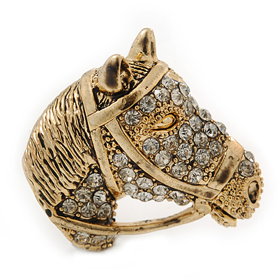 Burn Gold Diamante Horse Head Brooch - 30mm Across