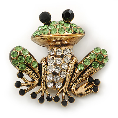 Funky Diamante 'Frog' Brooch In Burn Gold Tone - 38mm Length