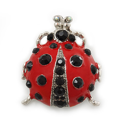 Funky Red Enamel Black Crystal 'Ladybug' Brooch In Silver Plating - 40mm Length - main view