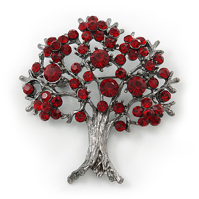 Burgundy Red Crystal 'Tree Of Life' Brooch In Gun Metal Finish - 52mm Length