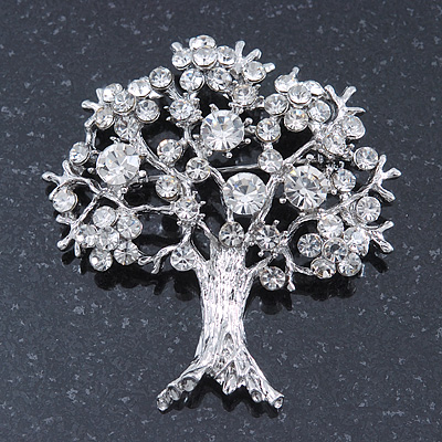 Clear Crystal 'Tree Of Life' Brooch In Rhodium Plating - 52mm Length - main view