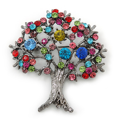 Multicoloured 'Tree Of Life' Brooch In Gun Metal Finish - 52mm Length