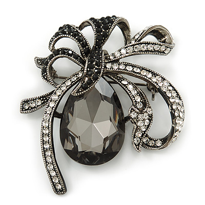 Victorian Style Black, Clear Swarovski Crystal 'Bow' Brooch In Gun Metal - 50mm Across